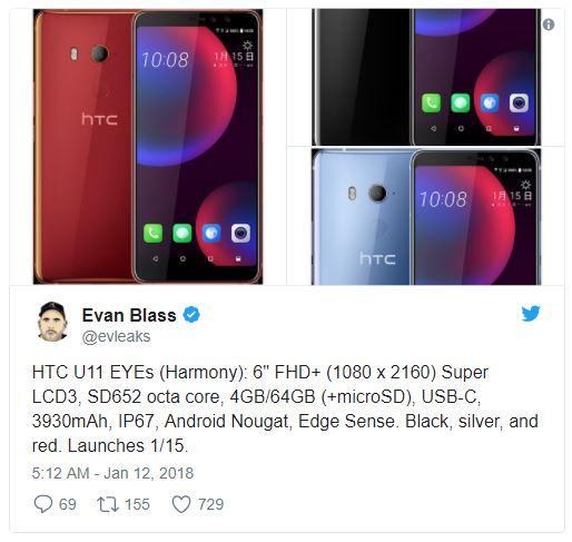 """Rumor aponta """"HTC U11 EYEs"""" com tela de 6 polegadas e 4GB de RAM"""