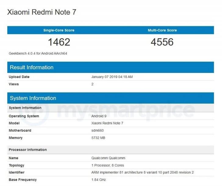 Xiaomi Redmi Note 7 aparece no Geekbench com Snapdragon 660
