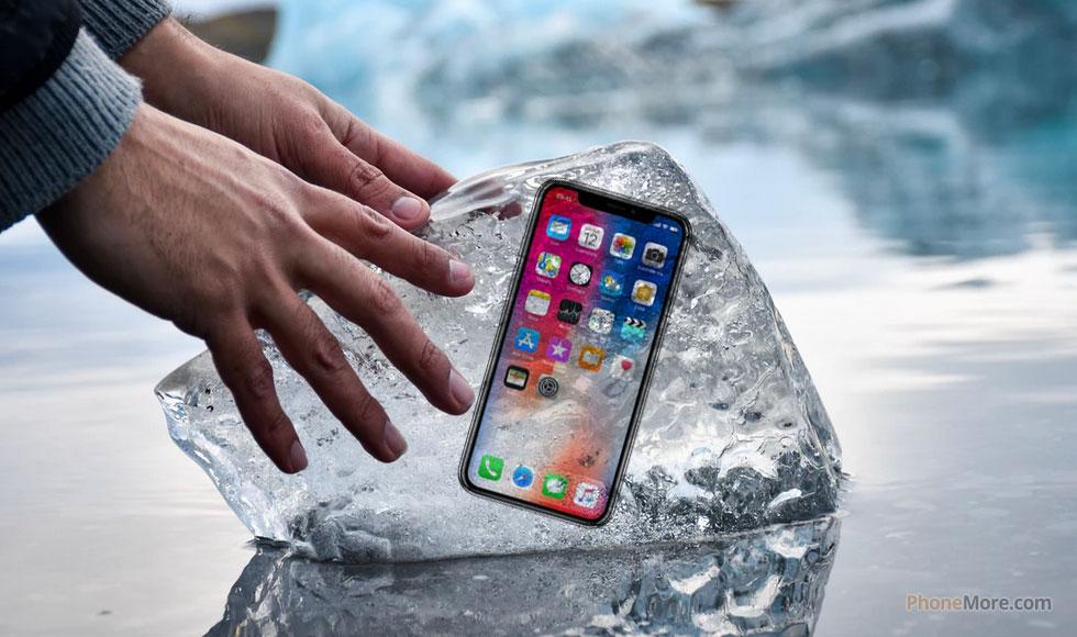 iphone x dans la glace