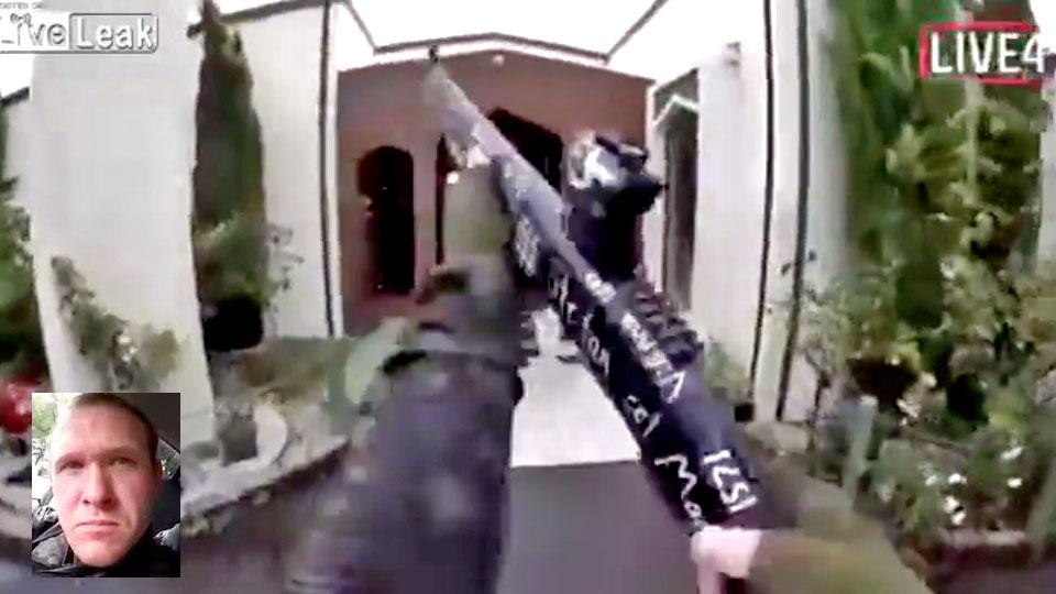 atirador entrando na mesquita no ataque na nova zelândia