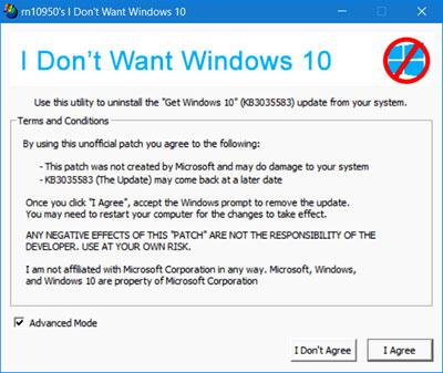 i dont wanna windows 10 program