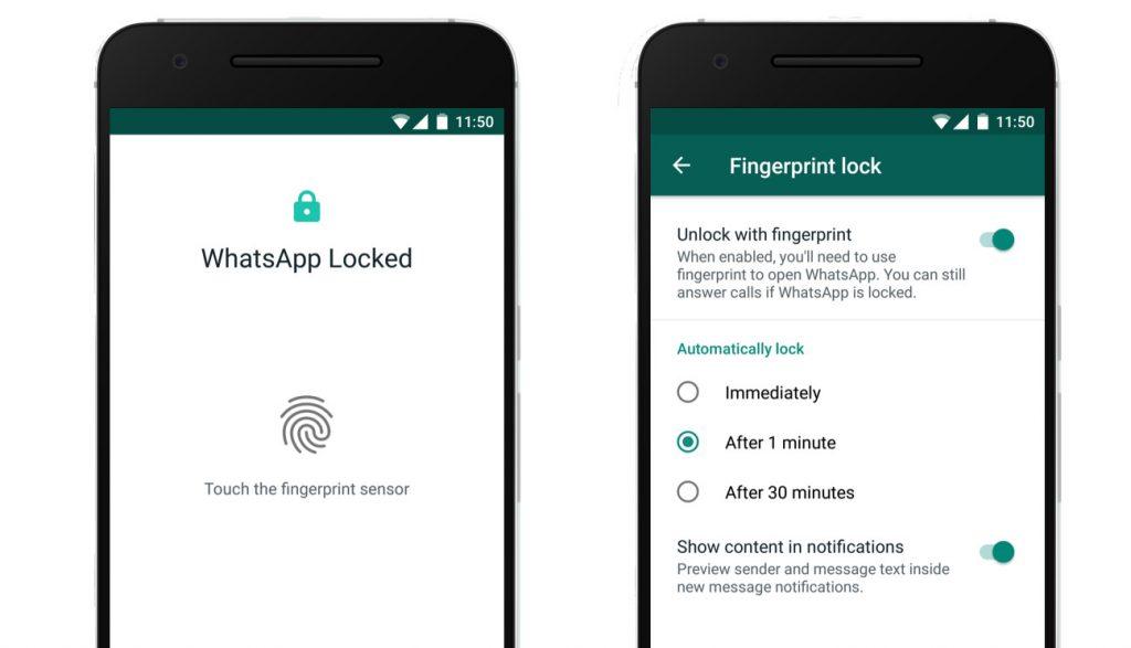 whastapp impressão digital android