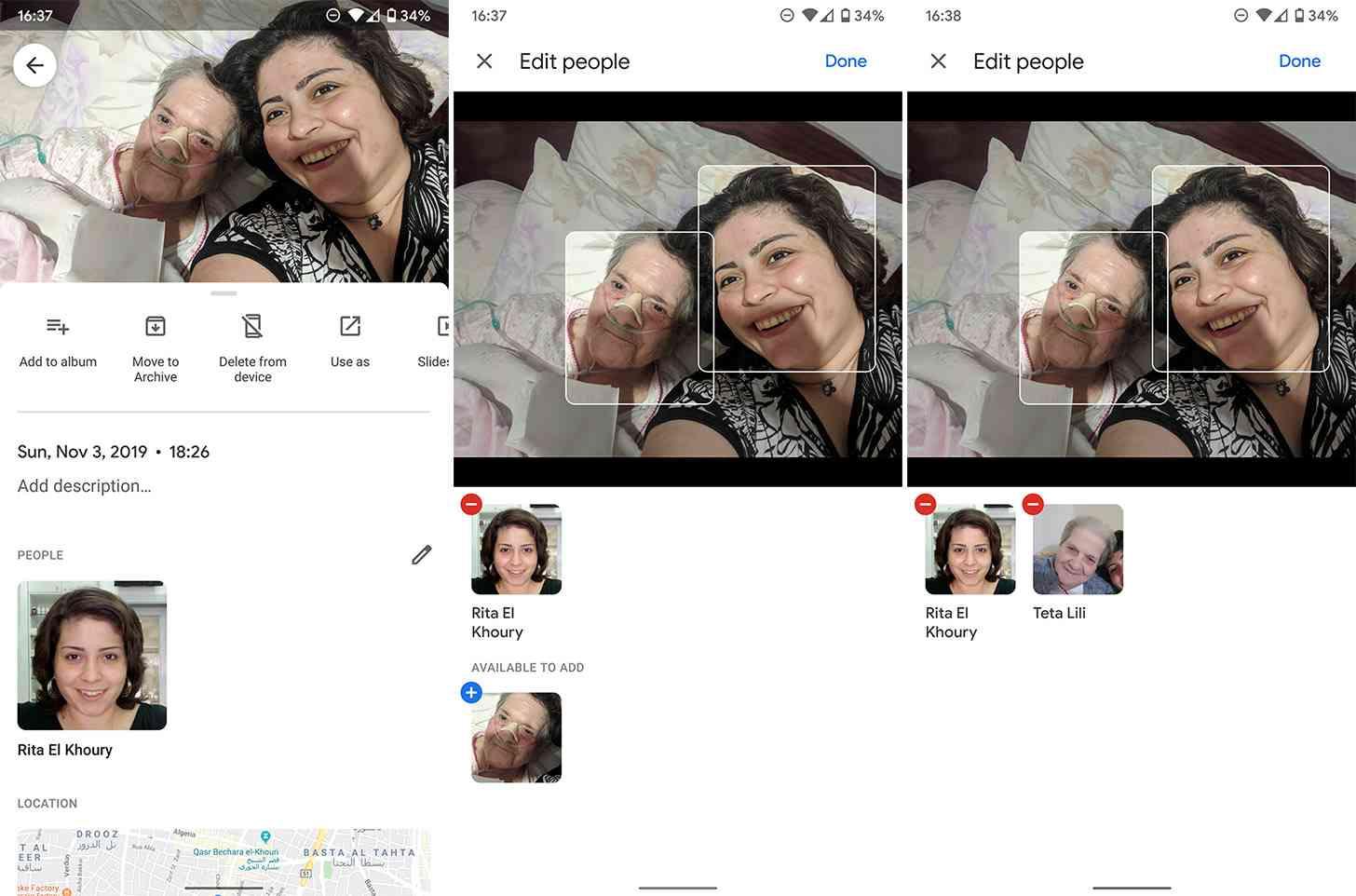 google fotos marcar rostos