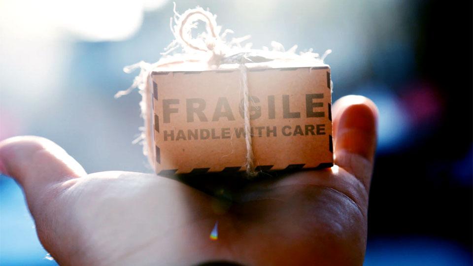 hand holding a cardboard box