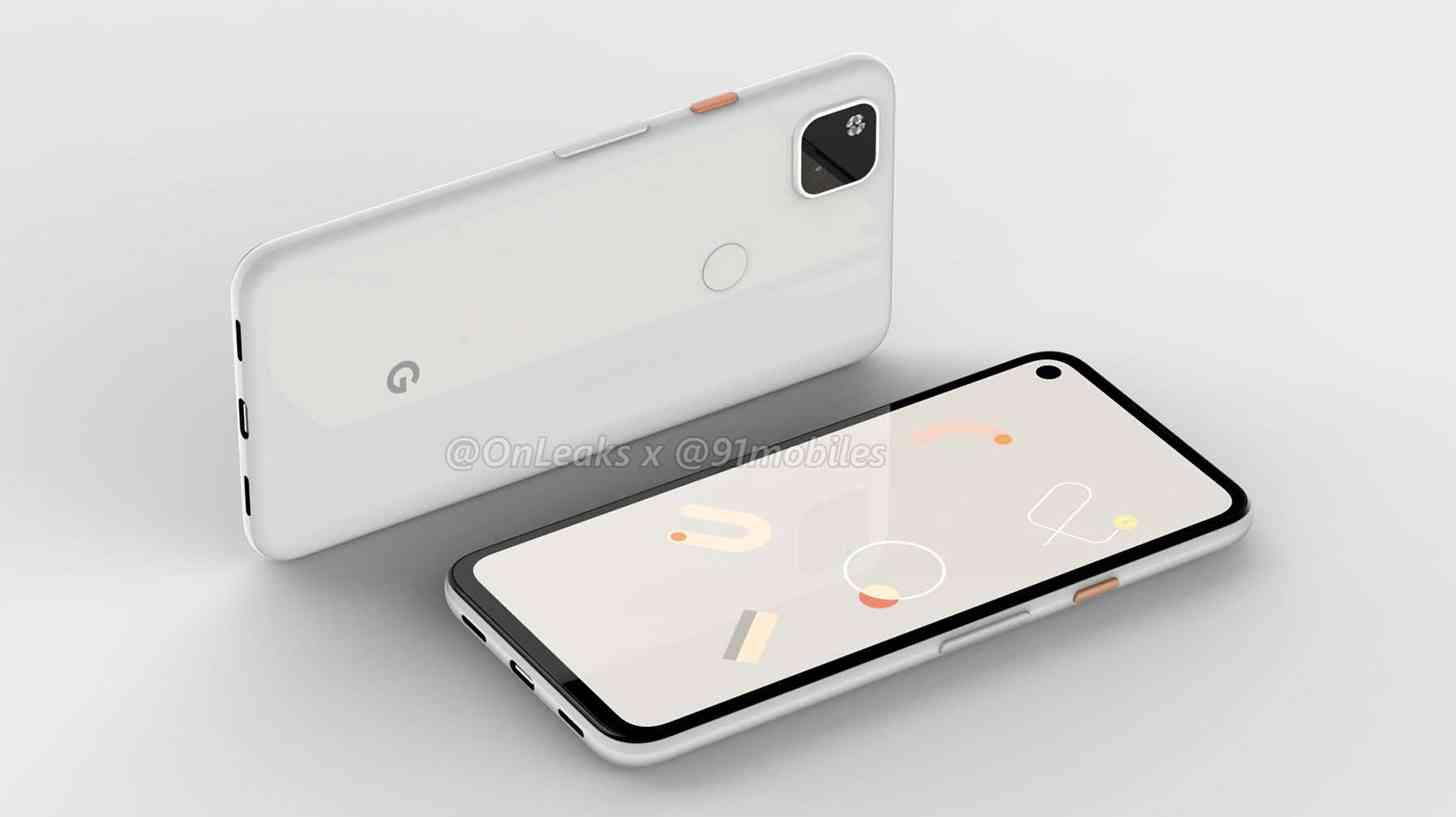 google pixel 4a renderização frontal e traseira