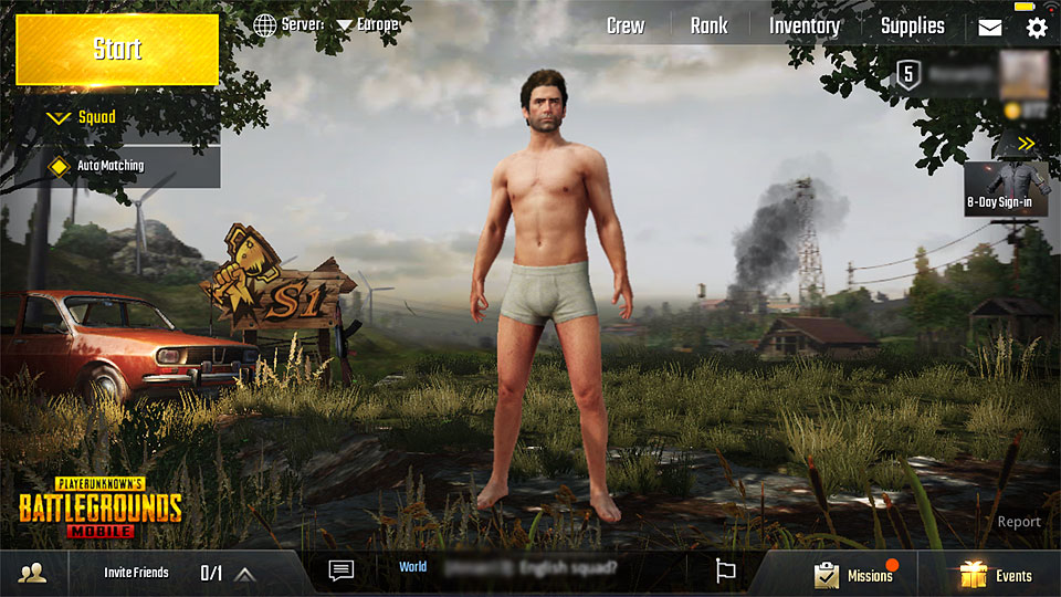 underwear character at the pubg mobile