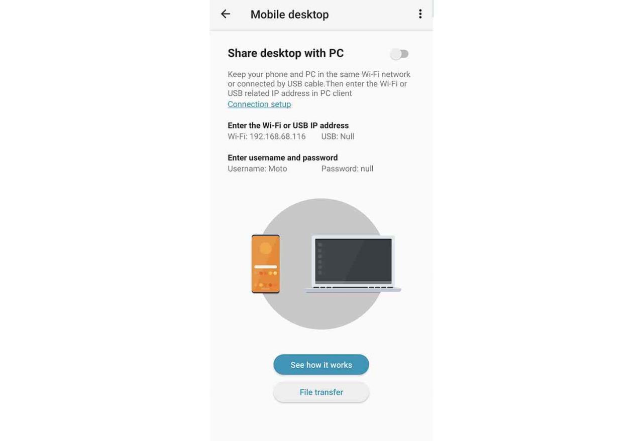 motorola desktop móvel app