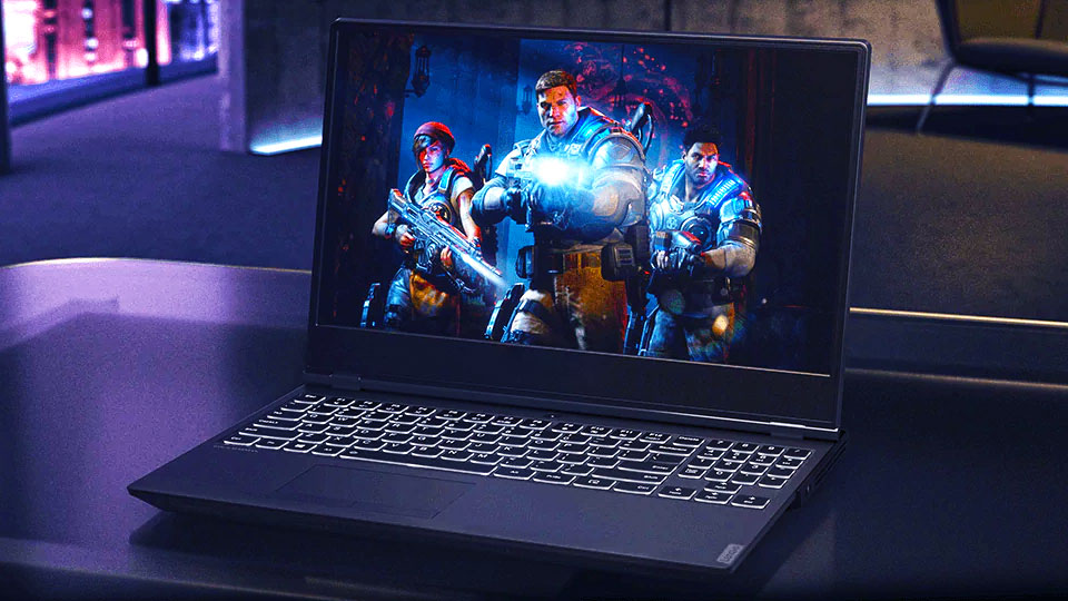 gaming laptop on the table