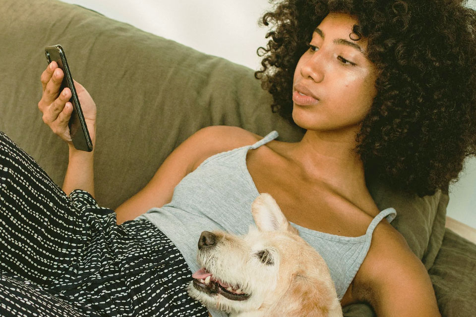 woman holding and looking at a smartphone on the sofa with a dog