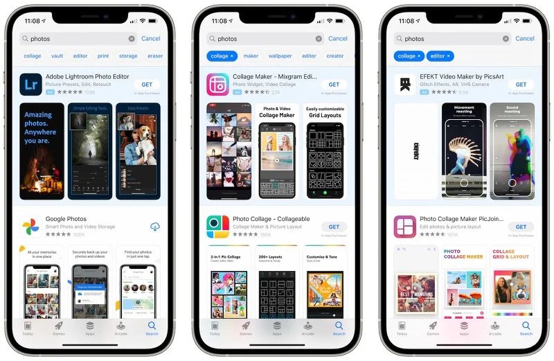 3 iphones com a apple store sendo mostrada na tela