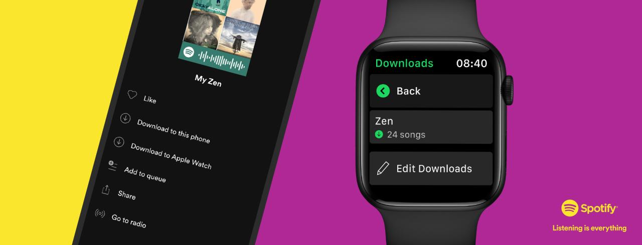 spotify on iphone and apple watch