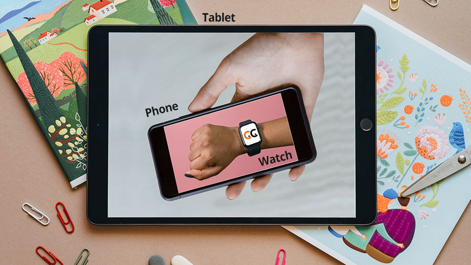 a tablet showing a smartphone showing a smartwatch