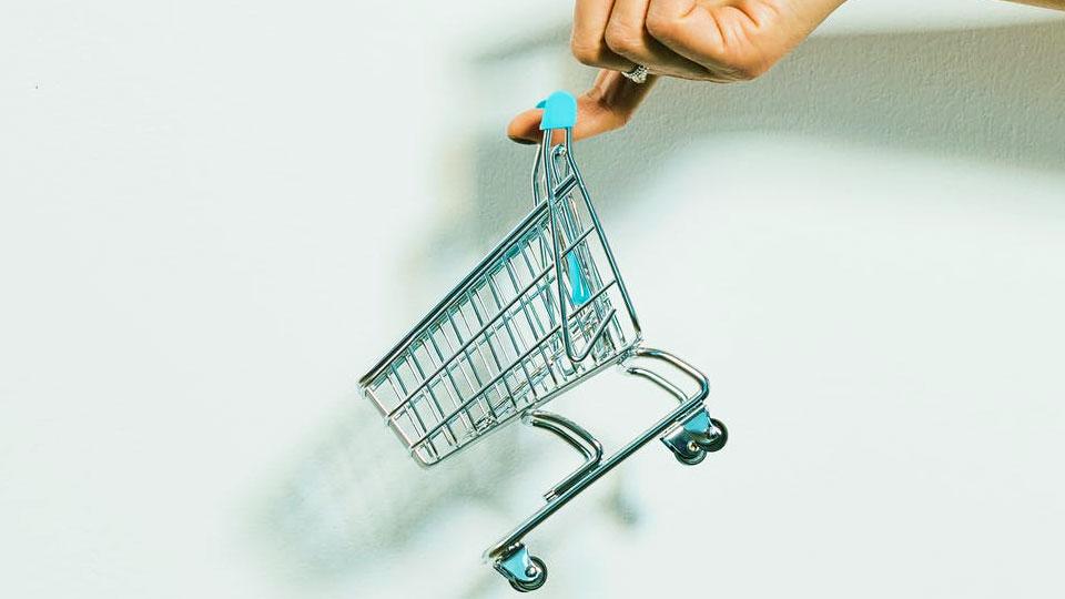 hand holding a mini shopping cart