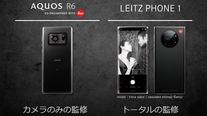 Sharp Aquos R6 on the right and Leitz Phone 1 on the left