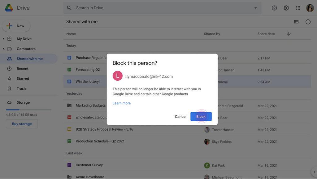 bloquear remetentes de spam que compartilham arquivos no Drive